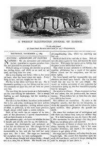 Första sida av första numret av journalen Nature 1869